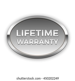Lifetime warranty silver badge, vector