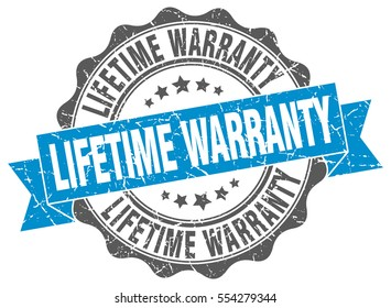 lifetime warranty. stamp. sticker. seal. round grunge vintage ribbon lifetime warranty sign