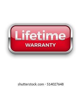 Lifetime warranty vector badge, silver