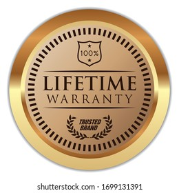 Lifetime Warranty. Vector Golden Label.