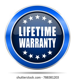 Lifetime warranty vector icon. Modern design blue silver metallic glossy web and mobile applications button in eps 10