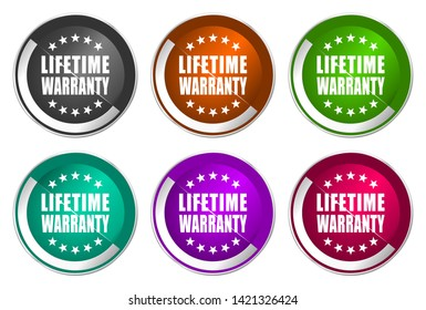 Lifetime warranty vector icons. Chrome border round web buttons. Silver metallic pushbutton colorful set