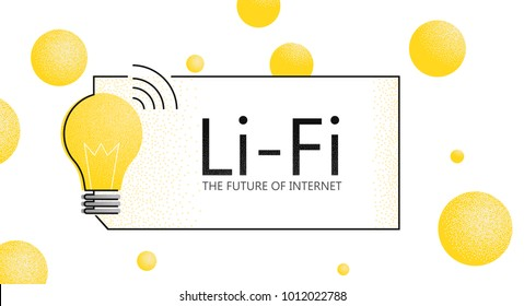 LiFi banner. The future of internet. Light Fidelity. Vector flat texture illustration