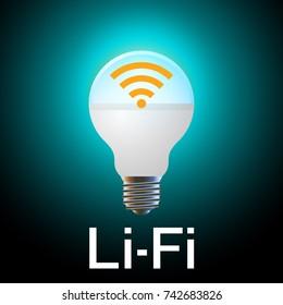 Li-Fi (Light Fidelity, wireless communication technology by LED) concept.