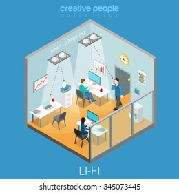 Li-Fi technology optical wireless communication interior visualization flat 3d isometry isometric concept web vector illustration. Office room and led lights data transfer. Creative people collection.