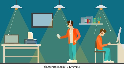 Li-Fi technology optical wireless communication interior visualization flat style concept web vector illustration. Office room and led lights data transfer. Creative people collection.