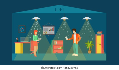 Li-Fi technology optical wireless communication interior visualization flat style concept web vector illustration. Office room and led lights data transfer falling 0 1. Creative people collection.