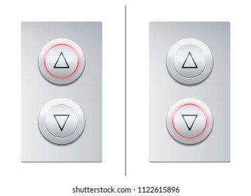 Lift call buttons with arrows to choose upwards or downwards. Isolated vector illustration on white background.