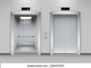 Lift doors building. Business office facade interior realistic closing opening doors elevator chrome metal buttons vector pictures. Illustration of lift door, panel metal, transportation office indoor