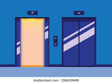 lift up and down, door open and closed in elevator hallway flat illustration vector