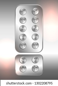 Lift /elevator push buttons with numbers and braille code for blind people - Vector