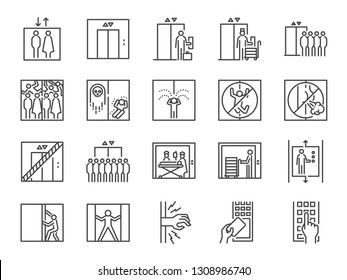 Lift line icon set. Included icons as elevator, goods elevator, goods lift, passenger, freight and more.