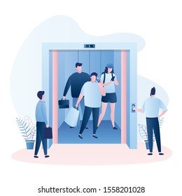 Lift with open doors, group of people in the elevator and around. Hallway in shopping mall or business center. Various business people and characters in trendy style. Vector illustration