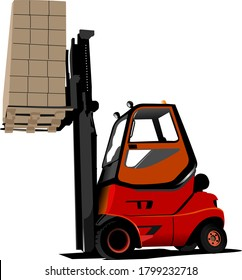 Lift truck. Forklift. Vector 3d illustration
