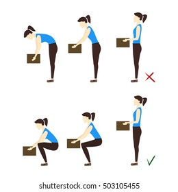 Lifting Box Correct and Incorrect Position, health care concept. Vector Illustration of Safely Correcting posture lift the heavy object. Woman and boxes at work. Medical illustration