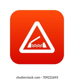 Lifting bridge warning sign icon digital red for any design isolated on white vector illustration
