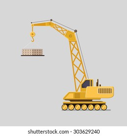 Lifting crane doing heavy Industrial concept. Tower and harbor lifters. Flat style vector icons.