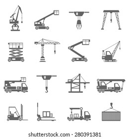 Lifting equipment and heavy industrial machines black icons set isolated vector illustration