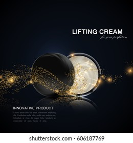Lifting facial cream ads poster template. Cosmetics package design. 3d vector illustration. Hydrating facial lifting cream jar with golden particles wave isolated on black background. Package mock-up.