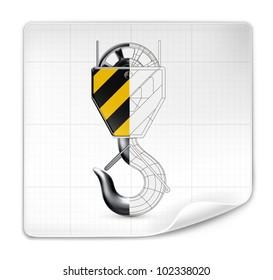 Lifting hook drawing, vector