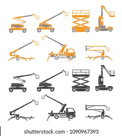 Lifting machine icons set. Two versions. Vector. Illustration