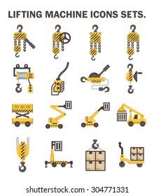 Lifting machine icons sets.