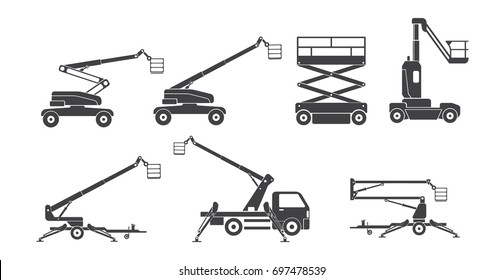 Lifting machine icons sets. Vector. Illustration
