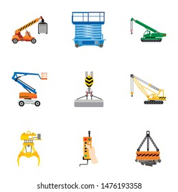 Lifting machinery icon set. Flat set of 9 lifting machinery vector icons for web design isolated on white background