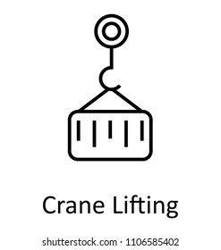 Lifting Pulley Or Crane Lifter  Line Isolated Vector Icon Editable