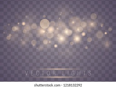 Light abstract glowing bokeh lights. Bokeh lights effect isolated on transparent background. Festive purple and golden luminous background. Christmas concept.