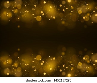 Light abstract glowing bokeh lights. Bokeh lights effect isolated on black transparent background. Festive purple and golden luminous background. Christmas concept. Vector