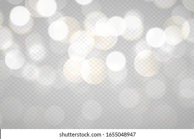Light abstract glowing bokeh lights. Bokeh lights effect isolated on transparent background. Festive purple and golden luminous background.
