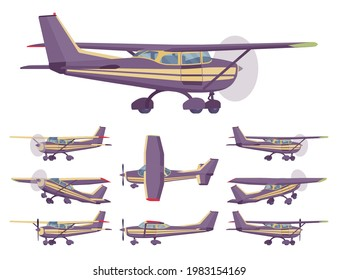Light aircraft, stripe plane livery set. Small regional logistics, mobility and transportation. Vector flat style cartoon illustration isolated on white background, different views and positions