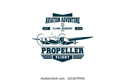 Light airplane related emblems, labels and design elements,airplane logo design template.vintage airplane vector illustration