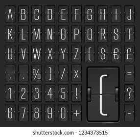 Light airport mechanical flip scoreboard terminal alphabet font with numbers to display flight timetable and destination, arrival or departure info. Vector illustration.