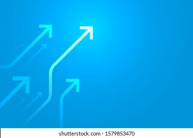 Light up arrow circuit on blue background illustration, digital growth concept.