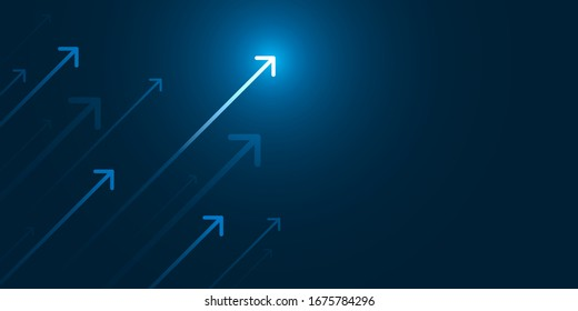 Up light arrow on dark blue background with copy space business growth concept