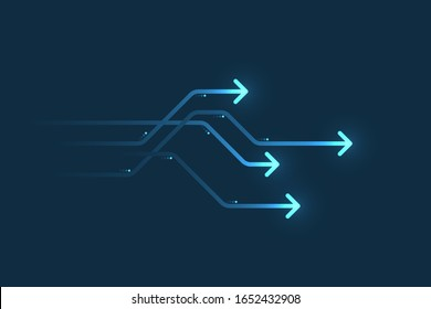 Light arrow speed, communication abstract background, business concept.