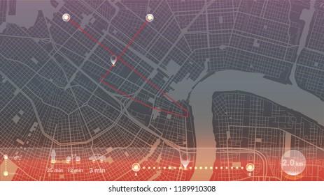 light art map new orleans city gps