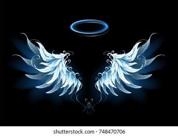 Light, artistic, blue angel wings on a black background.