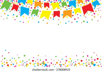 Light background of happy June Festival with space to put text in the middle. Colorful flags and confettis on top of it