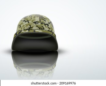 Light Background Military helmet with camouflage patterns. Metallic army symbol of defense and protect. Editable Vector illustration.