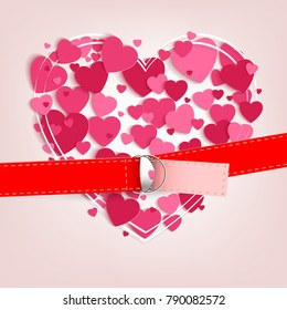 light background with a set of pink hearts and a red belt with a fastener
