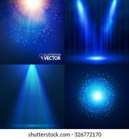 Light background set. Shining collection. Spotlights, banners & explosions. Bokeh design. Vector illustration