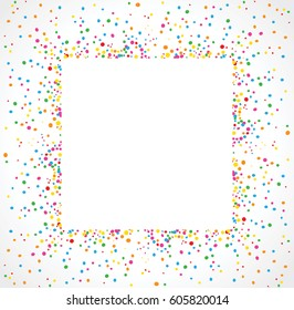 Light background in square format with colorful dots texture around a space for text. To use on birthday cards and general parties.