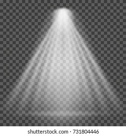 Light beam on transparent background. Bright spotlight light beam for searchlight, scene illumination. Vector