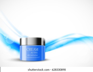 Light beauty cosmetic design template with blue realistic package on wavy soft blurred dynamic shiny lines background. Vector illustration