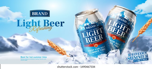 Light beer ads banner design with aluminium can on ice cubes and snow mountain background in 3d illustration