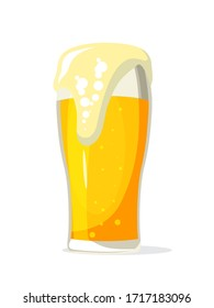 Light beer glass flat vector illustration. Frothy alcohol beverage, fizzy drink, lager pint side view. Traditional bar, pub product isolated on white background. Tavern logotype design element