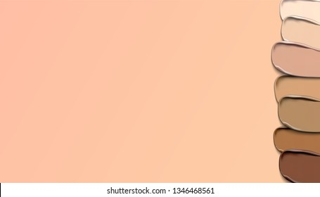 Light beige makeup smear of creamy foundation isolated on white background. Light beige creamy foundation texture isolated on  beige background.